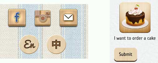 Wood texture buttons