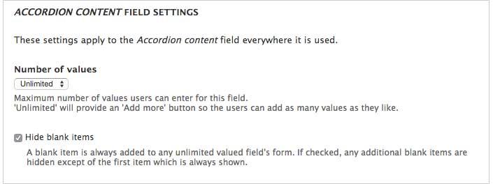 Accordion field settings