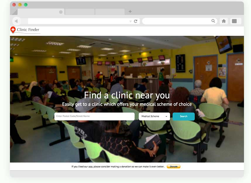 Clinic Finder home page