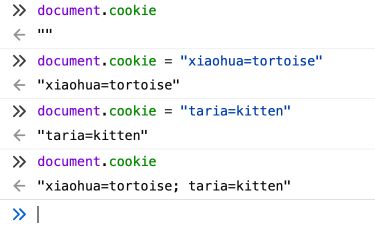 Create a new cookie in the browser console