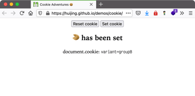 Screenshot of cookie demo site