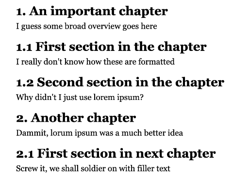 Example of how to use counter-increment and counter-reset for chapter titles