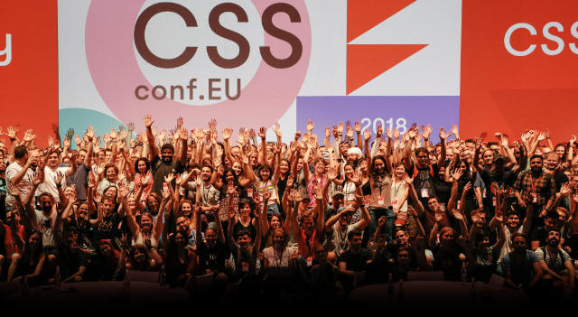 Family photo at the end of CSSConf EU 2018