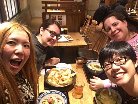 Dinner with Tomomi, Myrsini and Melanie