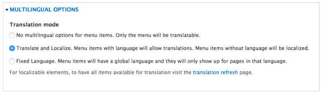 Translate menu options