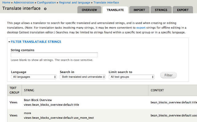 Translate strings interface