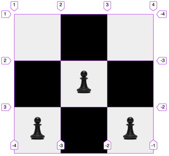 Screenshot of a 3x3 grid with 3 grid items styled like a chessboard and pieces