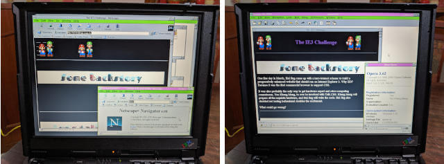 IE3 challenge website on Netscape Navigator and Opera for Windows 3.1