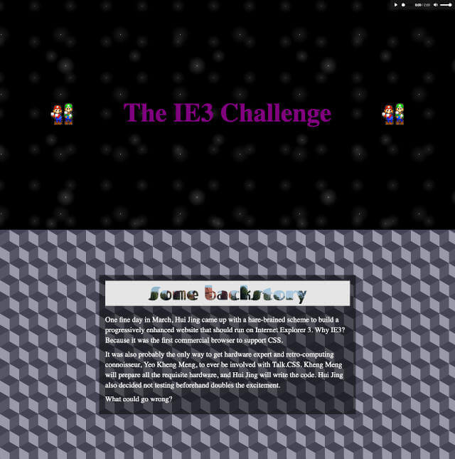 IE3 challenge website on Firefox Nightly