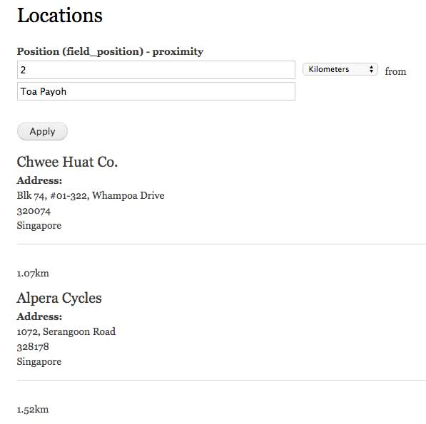 Location listing