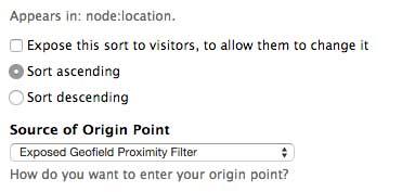 Proximity sort settings