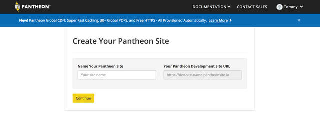 Create new site on Pantheon