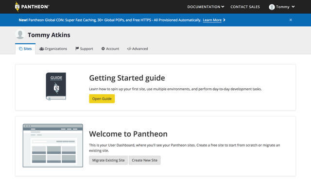 Dashboard page on Pantheon