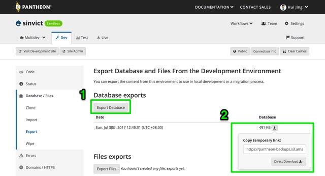 Export database
