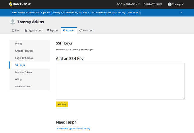 Add SSH keys to account