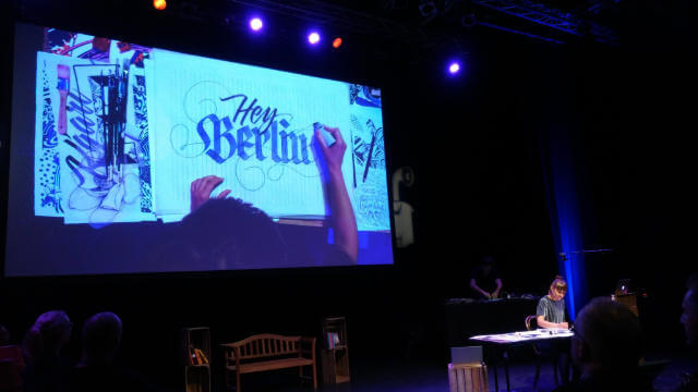 Gemma O'Brien live lettering on stage