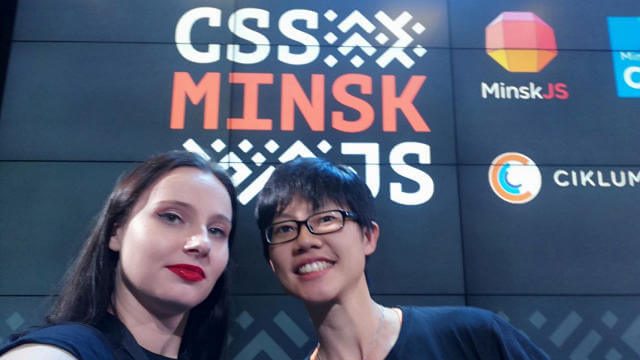 Sasha and I on the CSS-Minsk-JS stage