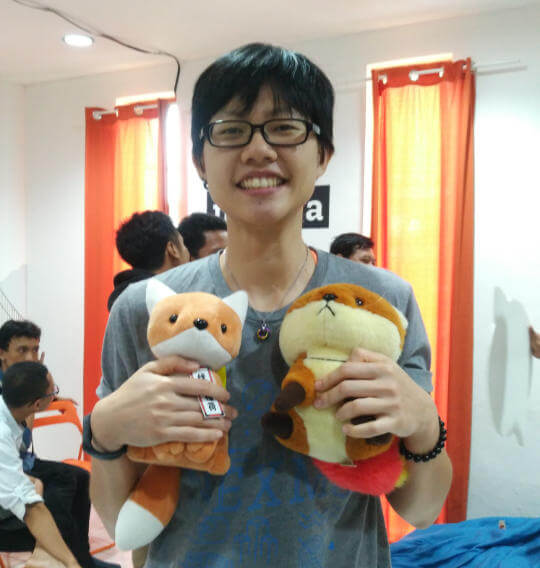Holding onto 2 fox plushies