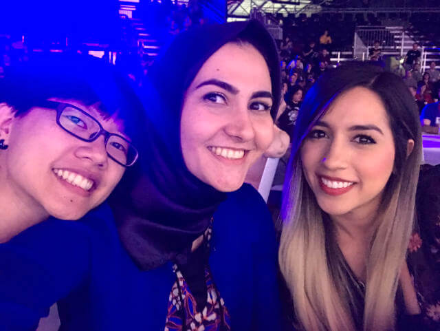 Selfie with 2 amazing women, Sareh Heidari and Estefany Aguilar at CSSconf EU 2019