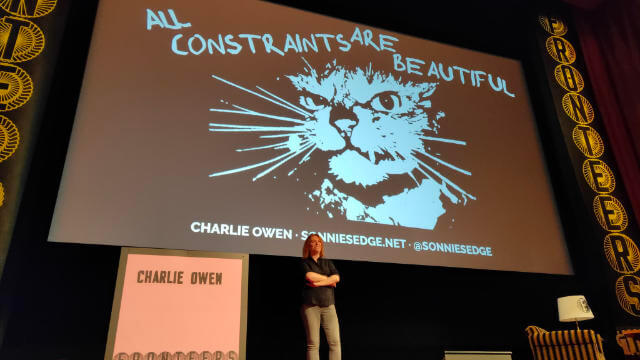 The amazing Charlie Owen on the Fronteers stage