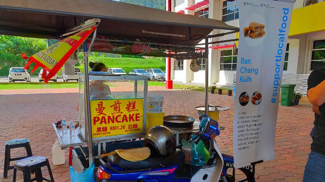 Street food stall selling pancakes