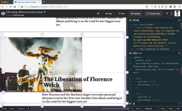 Grid inspector tool in Firefox