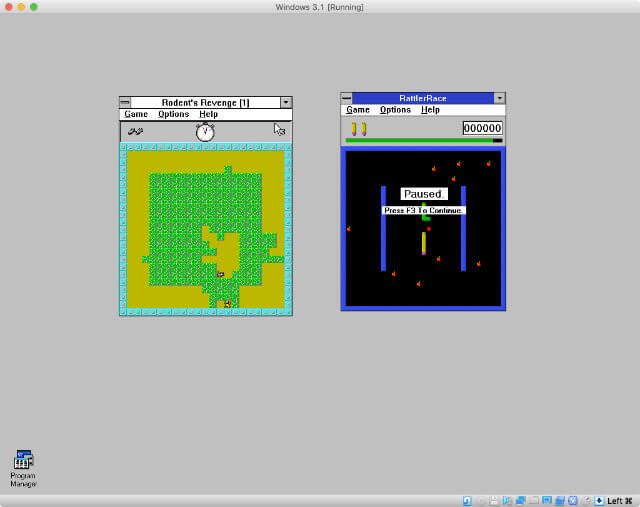 RattlerRace and Rodent's Revenge on my virtual Windows 3.1